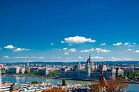 Budapest panorama with Danube river. Daylight. Summer