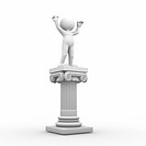 3d people _ human character and roman column. 3d render illustration