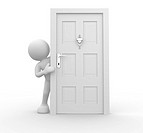 3d people _ human charcacter and knocker on door . 3d render illustration