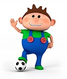 cute little cartoon boy with soccer ball _ high quality 3d illustration