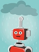 Red robot illustration of bot standing under clouds and rain