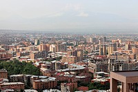 It is skyline Yerevan in the morning