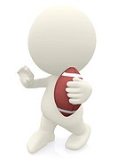 3D man holding a football ball with hand in front isolated over white