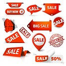 Collection of red sale tickets, labels, stamps, stickers, corners, tags on white background