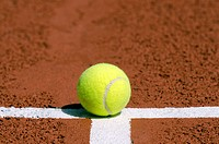 a tennis ball on the white line