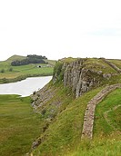 Part of the walk along Hadrian´s wall between Once Brewed and Housesteads with Crag Lough