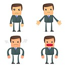 set of funny cartoon businessman in various poses for use in presentations, etc.