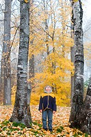 A little boy stands between two tall trees in Autumn.