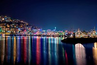 Alanya port at night