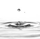 A water drop black and white background