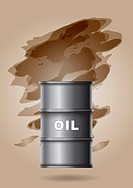 Oil barrel with hand painted abstract background