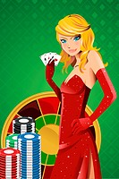 A vector illustration of a beautiful woman holding poker cards