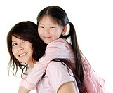Asian mother piggyback her daughter, on white background