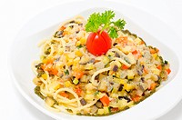 pasta with stewed vegetables, seasoned with garlic sauce