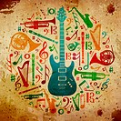 Multicolored music instruments silhouette in circle shape. Vintage background