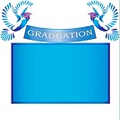 Graduation banner with doves,mortar and copy space