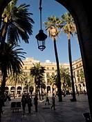 Plaça Reial, designed by Francesc Daniel Molina i Casamajó. Barcelona, Catalonia, Spain.