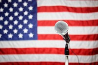 Microphone in front of American flag