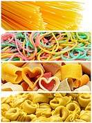 a collage of four pictures of different kind of pasta