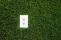Electrical outlet in grass, alternative energy source