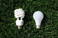 Energy Saving Light Bulb and Incandescent Bulb laying on green grass