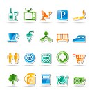 Hotel and Motel objects icons _ vector icon set