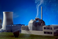 A model built to scale of an explosion at a nuclear power plant (thumbnail)