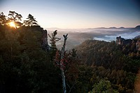 Sun rising on the Bastei, Elbe Sandstone Mountains, Saxon Switzerland National Park