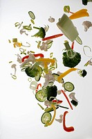 Vegetables against a white background