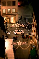 Tilt_shift of a Christmas Market, night, Strasbourg, Alsace, France