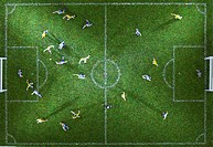 Miniature figurines of two soccer teams playing a soccer match, directly above (thumbnail)