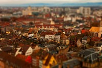Tilt_shift of an abundance of apartment buildings in a residential district, Strasbourg, France