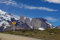 A tourist´s roadside view of the Torres del Paine, Torres del Paine National Park, Patagonia, Chile, South America