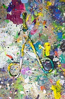 Splattered paint on scissors
