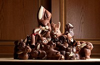 Heap of different chocolate Easter bunnies