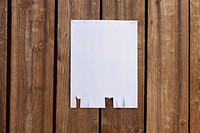 A blank flyer hanging on a wooden fence (thumbnail)