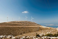 Wind turbines on a hill, Rhodes, Greece