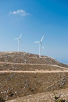 Two wind turbines on a hill, Rhodes, Greece