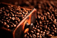 closeup of coffee beans, shallow dof