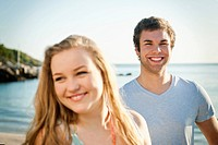 Spain, Mallorca, Couple on beach, smiling