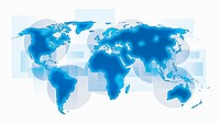 World map with blue continents on white background