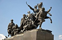 Bronze monument of V.I. Chapaev and cavalry against the blue sky. Russia. Samara