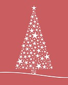 Christmas tree from white stars pink background