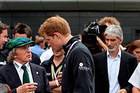 Race, Prince Harry and Sir Jackie Stewart, British Grand Prix, Silverstone, England