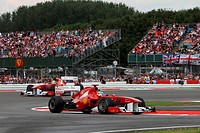 Race, Fernando Alonso leads Felipe Massa, British Grand Prix, Silverstone, England