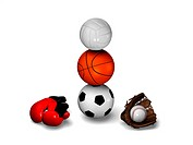 Football, basketball and volleyball balanced with red boxing gloves and baseball glove with ball.