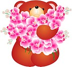 teddy bear with flower. Isolated on white background. Vector
