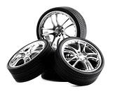 Car wheels on white background