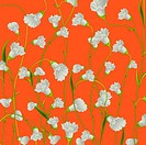 White flowers background over orange, abstract art illustration