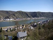 View of the Rhine River and St. Goarshausen as seen from St. Goar, Rhineland_Palatinate, Upper Middle Rhine Valley, a UNESCO World Heritage site, Germ...